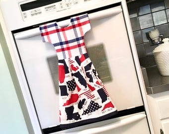 Patriotic State Themed Kitchen Towel Dress / Hanging Dish Towel Dress / Tea Towel Dress /Red White and Blue Dish Towels by Klosti