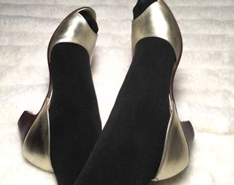 Vintage 80s gold metallic peep toe heels 7.5 7 1/2