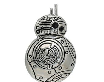 30% Retirement Closeout - BB-8 Droid, Star Wars Inspired, Force Awakens Inspired, Silver Tone Pendant, 38mm, 1 Piece, 5PE92-0001