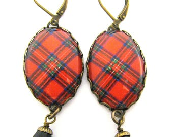 Scottish Tartan Jewelry - Ancient Romance Series - Royal Stewart Red Clan Tartan Earrings with Onyx Black Czech Glass Charms