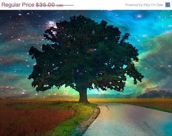 HUGE SUMMER SALE 40% off Painted Photograph....Starry Starry Night ...8x10 archival Fine Art Giclee print