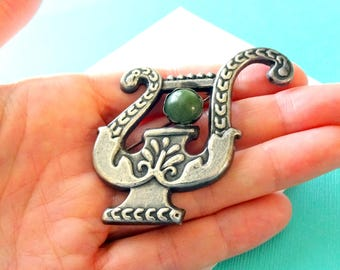 Vintage Mexican Deco Sterling Silver and Jade Urn Brooch