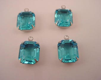 4 Vintage Glass Blue Topaz set  antique silver tone  Prong  Octagon  Open Back Drop  1 ring Charms  12x10