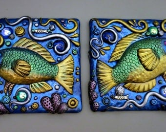 Custom Tropical Fish Art Tiles, Mosaic Glass Tile, Polymer Clay with Vintage Cabochons