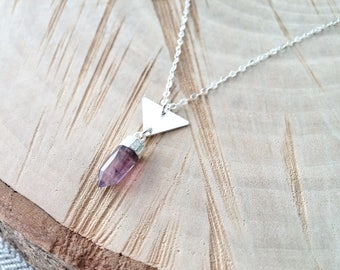Sterling Silver Triangle and Amethyst Spike Pendant Necklace, 925 Sterling Silver Triangle Charm, Sterling Silver Amethyst Gemstone Spike