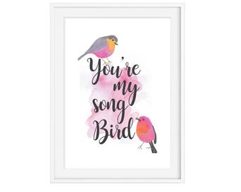 You're My Song Bird Girls Wall Print