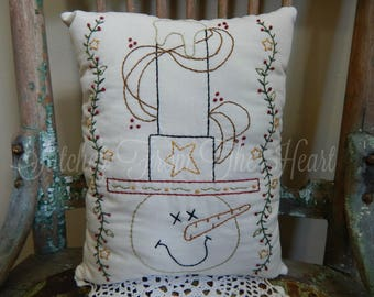 Decorative Snowman Pillow - Sam the Snowman - Hand Stitched Pillow - Snowman -Top Hat - Winter - Christmas In July