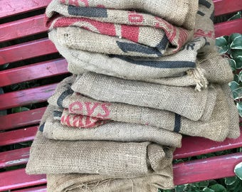 Lot of 10 Old Vintage Burlap Sacks Some with Advertising for Repurposing Altered Art