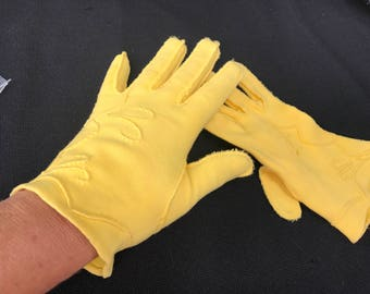 One (1) Pair of Vintage Sunny Yellow Cotton Ladies' Gloves with Raised Embellishment