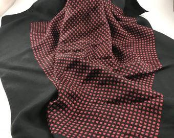 Vintage Ladies' Black and Red Floral Print Scarf