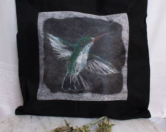 Hummingbird Pillow Cover from Original Felted Painting