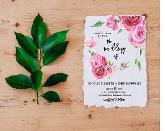 Watercolor Wedding Invitation, Calligraphy Wedding Invitation, Pink Floral Wedding Invitations, Floral Watercolor Wedding