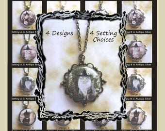 Cats in Witch Hats Pendants - 4 Designs & 4 Setting Options to Choose From
