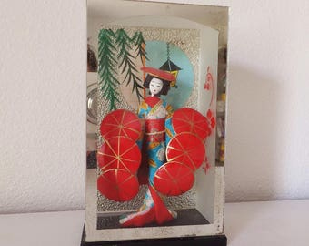Japanese Doll Mid Century Doll from Japan Glass Case Vintage 1950's Dancer Doll Small Japanese Doll in Kimono Red Umbrella Dance Asian Retro