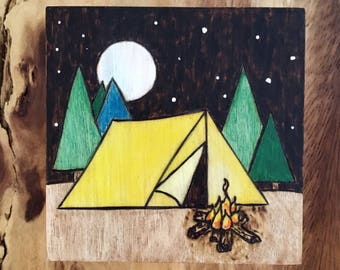 Camping in the Tent - Woodburned Art Panel-Pyrography