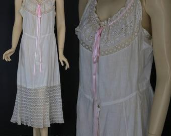 Antique Victorian 1900s combination garment white chemise petticoat slip