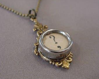 Brass Typewriter Key Necklace Aged Cream QUESTION MARK  Glass Typewriter Key Pendant Necklace Typewriter Jewelry recycle  jewelry