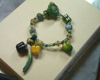 Vegetable Button Bracelet -  Peppers and Onions - Greens
