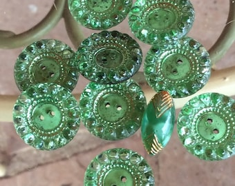 Green Glass Buttons -  1 Spindle Shaped Moonglow - 10 Sew Thrus -