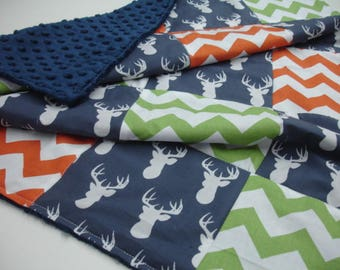 Deer Head Navy with Orange and Green Chevron Minky Blanket 25 x 32 READY TO SHIP