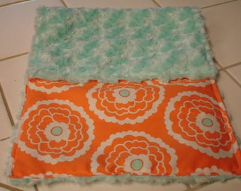 Orange Vintage Floral Minky Burp Cloth 10 x 20 READY TO SHIP