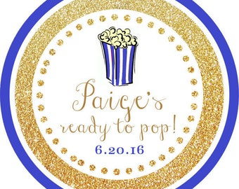 DIY Printable File-Ready to Pop! Gold Glitter Blue Popcorn Thank You Stickers, Tags- AVERY LABEL 22807