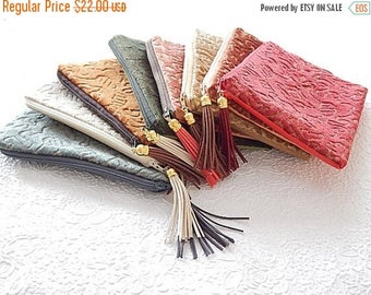 CLEARANCE - Upholstery pouch, tapestry zipper pouch, vinyl purse, fabric clutch, flat zipper purse, 9 colors