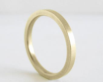2mm Gold Wedding Band | 1.8mm thick Sturdy Wedding Band | Yellow White Rose Gold | 14k 18k Recycled Gold| Flat Comfort Fit | Eco friendly