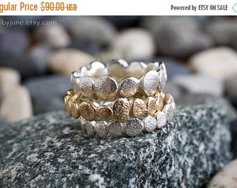 40% Off Single Gold Vermeil Pebble ring   Stacking Ring    Gold Vermeil Ring