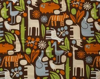Alexander Henry fabric - 2D Zoo, Brown, 80x40 cm.