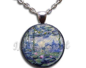 25% OFF - Monet's Water Lilies Glass Dome Pendant or with Chain Link Necklace  AP123