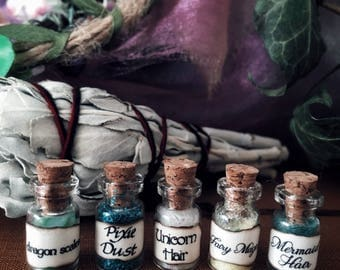 Miniature, magical apothecary jars, potion bottles, set of 5, 1:12 scale, dollhouse