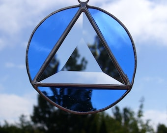 Recovery Symbol, Stained Glass Sun Catcher - Your Choice of Colors