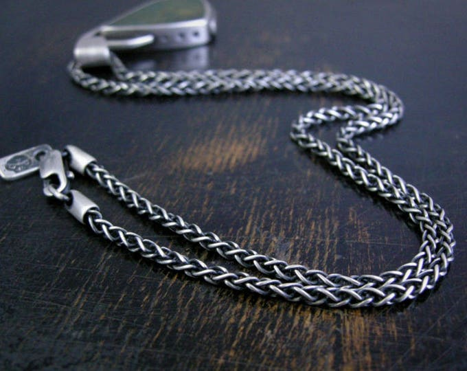 Wheat chain made to order 2.5mm sterling silver soldered jump rings and lobster claw clasp antique rustic finish