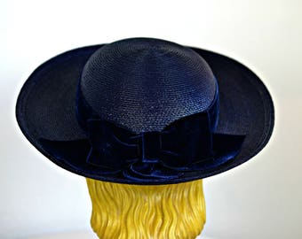 Vintage Navy Blue Straw Hat with Velvet Ribbon and Bow