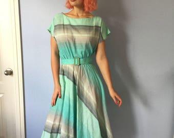 Vintage Cotton Dress 1980s -Striped A-Line Betty Lou