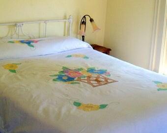 Vintage Bedspread Handmade Applique • Bedspread Coverlet Vintage