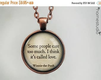ON SALE - Winnie (Love) Quote jewelry. Necklace, Pendant or Keychain Key Ring. Perfect Gift Present. Glass dome metal charm by HomeStudio