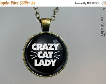 ON SALE - Crazy Cat Lady : Glass Dome Necklace, Pendant or Keychain Key Ring. Gift Present metal round art photo jewelry by HomeStudio