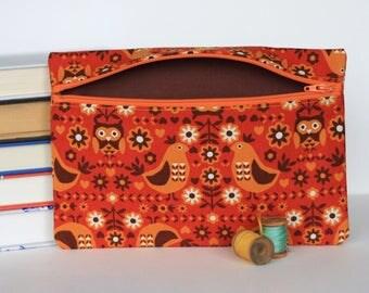Retro Owl Pencil Case Orange Clutch Handbag