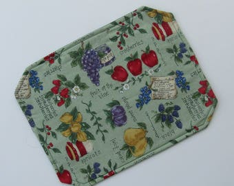 Placemat, Reversible, Insulated, Country Green, Fruits, Cranberries, Blackberries, Apricots, Table Linens, Table Placemats