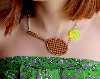 Limited Edition Tennis Wimbledon Necklace - Statement Jewellery - Tennis Lover - Statement Necklace - Acrylic Necklace - Laser Cut Necklace