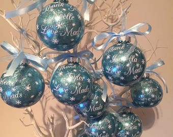 9 x Personalised Christmas Baubles