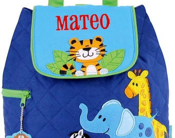 Children Backpack Personalized Zoo Quilted Stephen Joseph, Toddler, Preschool
