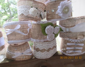12 Rustic Jar Sleeves , Wedding Reception,White and Beige, Burlap and lace, Slip on Covers