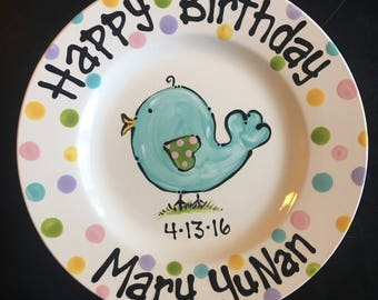 Hand Painted Personalized Birthday or Special Day Plate - Little Blue Birdie
