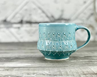 Blue pottery mug. Petite mug. Handmade porcelain mug. Blue glazed mug. Ceramic cup. Favorite pottery mug, stamped texture. Blue kitchen.