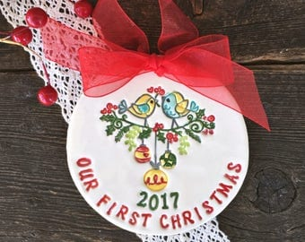 Our First Christmas Ornament - Personalized Christmas Ornaments, Ornament for Couple, Our First Christmas Married, Wedding Gift