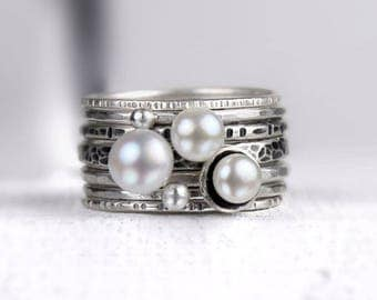 Freshwater Pearl and Silver Stacking Rings, Mixed Textures, Oxidized Finish, Seven Ring Set