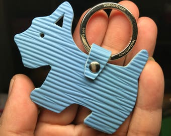 Special Offer - Ready Stock - Small size - 10th Anniversary silhouette dog Epi leather keychain ( Baby blue )